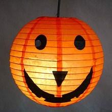 Factory wholesale pumpkin paper lampion/LED light lantern halloween /Happy halloween ghost paper lamp