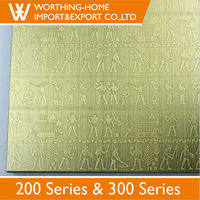 2mm 304 copper color coated embossed titanium etching stainless steel plate
