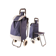 Travel Portable Oxford folding foldable trolley shopping bag with chair Rolling Blue