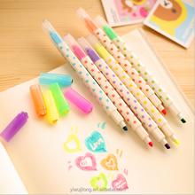 2015 fashion eraseable highlighter multi colored highlighter pen