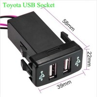 Car 2.1A Dual USB Port Socket + Fuse Cell Phone Charger + Audio Input for Toyota