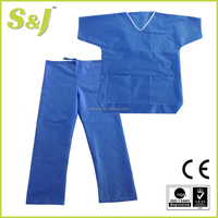 PP/SMS/Spunlace V-neck Disposable Patient Gown body Suit with Short Sleeves