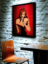 canvas portrait oil painting sexy women bar decoration