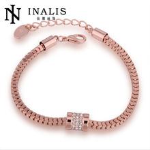 níquel hecho a mano rosa gratis chapado en oro pulsera de cadena de la mano para los hombres