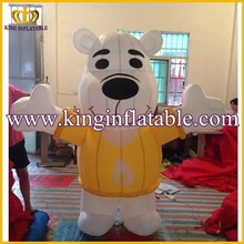 Good Price Inflatable Bear Walking Costume, Inflatable Bear Cartoon For Kids With Logo Printing