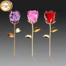 colorful crystal glass rose flower