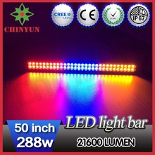 2015 The Most Popular Products 50inch 288w color change flash LED off road lights bar