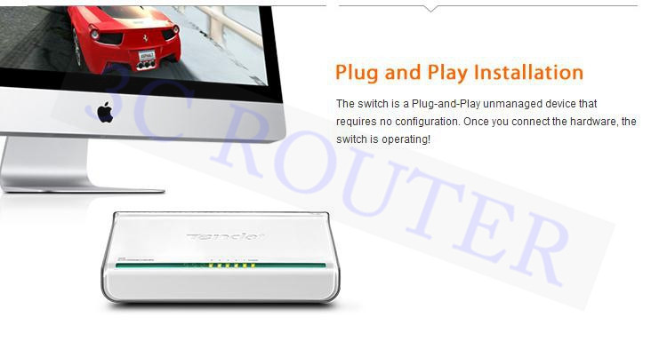 Сетевой коммутатор Tenda 3C Ethernet RJ45 5 * 10/100 /auto MDI/MDIX CDMA SY103 S105