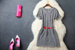 2015 Newest Unique alibaba china Black and White Polyester Short Sleeves V Neck girls printed Casual Dress