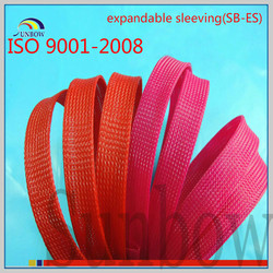 with iso 9001-2008 standard antiwear flame retardant thermal insulation pet expandable braided sleeving