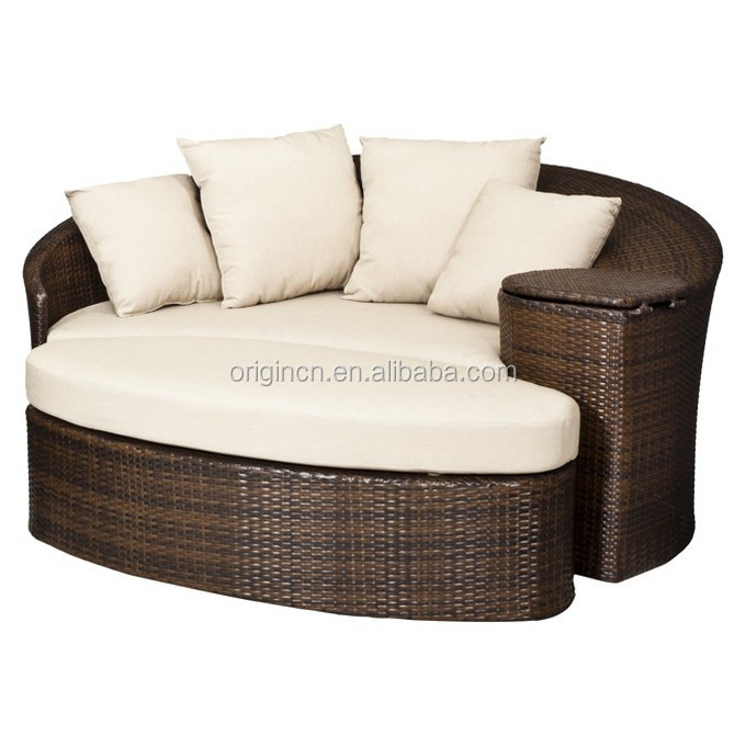 Gentil Patio Loveseat And Ottoman Sectional Round Sun Bed With Cooler Rattan  Outdoor Daybed
