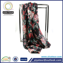 Hot Sale Floral Printed Cotton Scarf Black Femme Winter Warm Shawls Alibaba China