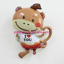 59*87 cm Aluminium animal shaped lovely monkey balloon for kid toys,wedding decoration