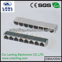 male female connector cat5 female connector PCB JACK 8PIN 8PORT rj11 jack shielded modular jack w/bottom ground tabs