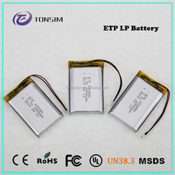 rechargeable li-polymer battery 3.7V 1800mAh, high capacity lithium polymer battery for power storage