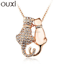 2015 Alibaba Wholesale Cutey Cat Gold Plated Couple Chain Necklace