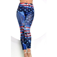 1pc women new style wearing blue with star printed women slim nine point fashion fitness leggings