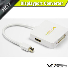 3 in 1 mini displayport to HDMI DVI Displayport female adapter in white