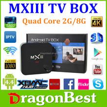 Factory MXIII Android 4.4 Amlogic S802 Quad-Core TV BOX 2GB/8GB Google tv box MX3 2.4/5GHz Dual Wifi bluetooth4 internet tv box