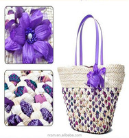New Style Lady bag Corn husks Weave Straw bag Korea style Feather flowers