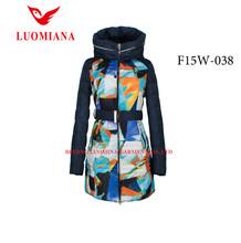 pattern printing long hooded women winter coat without fur collar