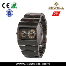 2014 new design High quality Wooden wrist watch with Double movement Show Dofferent time