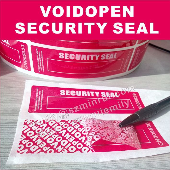 Self Adhesive Tamper Proof Red Void Open Security Seal
