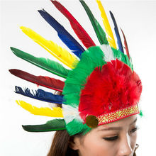 2015 Wholesale selling Colorful Chicken Feather Indian Feather Headdress for Carnival