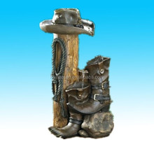 new electric western cowboy boot Resin water fountain garden