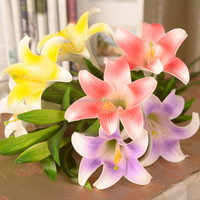 Simulation flowers Artificial flower 3 head PU Lily Interior Decoration