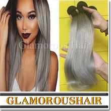 Best Quality Brazilian Virgin Hair Ombre #1b/Silver Grey Ombre Hair, Human Hair Weaves