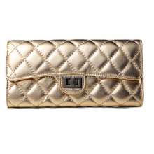 2015 High quality hand purse,Golden/silver argyle pu leather hand purse for lady