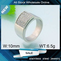 Popular Jewelry top quality pave crystal stainless steel ring