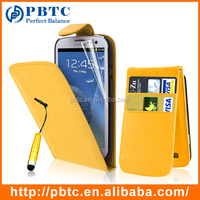 Set Screen Protector Stylus And Case For Samsung Galaxy S3 I9300 , Yellow Leather Wholesale Cell Phone Wallet
