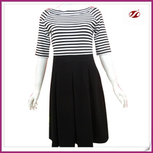 Classic white and black stripes design dresses for women,lady black solid colour casual dress