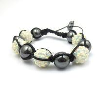 Fashion Hand Woven Alloy Black Gallstone Ball Bracelet Black Rope Braided Bracelets