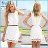 Yihao 2015 Short White Women's Lace Dress Women Summer Mini Hollow Out Sleeveless Cute Ladies Casual Dresses Vestidos