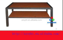 wooden coffee table two layers hard modern steel legs cheap center table living room wood coffee table