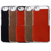 High quality Suede pattern real leather mobile phone case for iphone 6 , customize your pattern and color