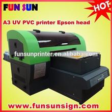 Cheap A3 small format digital UV LED flatbed CD/DVD printer (28cm x 55cm,with One Epson DX5 head,8 color,5760dpi*1440dpi.)