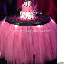Handmade table cloth white/pink mesh tutu table skirt round