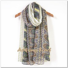 White and green big and small paisley scarf hijab 2015