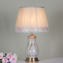 elegant ceramic lampstand classic table lamp for gallery decor with white lampshade