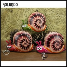 Beauty snail key holder money design wallet purses cases