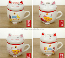 creative lovely cartoon lucky fortune cat model of ceramic mug with lid