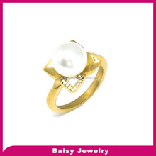 Best Quality Hot Selling Cheap stainless steel pearl ring designs for women wholesale