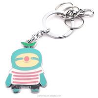 HOMEQI 3d fancy key chain custom souvenir small robots keychain metal HQKC290402-2
