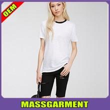 custom silk/cotton women white blank long xxl t-shirt