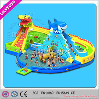 Giant shark and dragon design inflatable water park inflable water slide from China