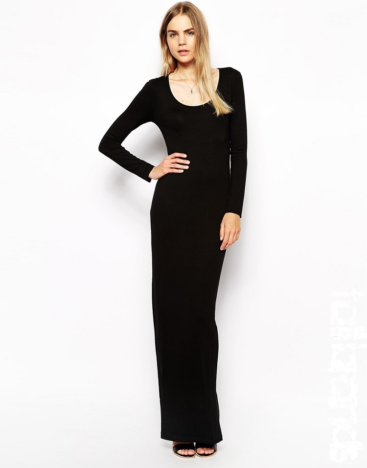 Wholesale black long sleeve dress side split maxi evening dress 2014